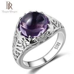 Bague Ringen Vintage 100% 925 Ayar Gümüş Yuvarlak Doğal Ametist Düğün Nişan Yüzükleri Kadınlar Için Güzel Takı Boyutu 6- 10