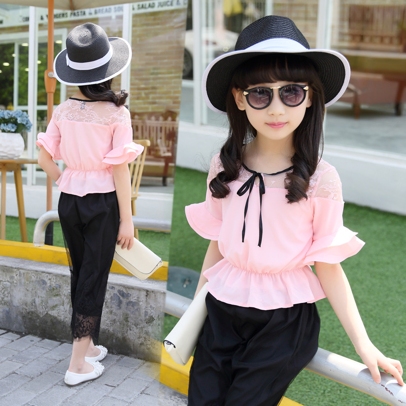 Kids Girls Summer Children Suit South Korea Chiffon Sleeves Two Pieces Clothes Sets Red Pink цены