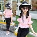 Muchachas de los cabritos del Verano Niños Traje de Corea Del Sur Gasa Mangas de Dos Piezas de Ropa Conjuntos Rojo Rosa