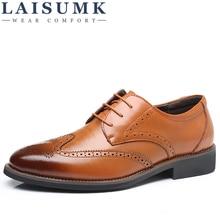 LAISUMK Luxury Designer Formal Men Dress Shoes Genuine Leather Classic Brogue Shoes Flats Oxfords For Wedding Office Business цены онлайн