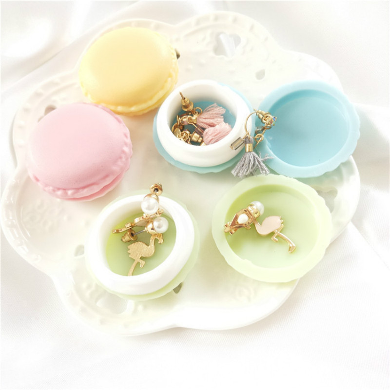 1Pcs Lovely Mini Macarons Storage Box Travel Jewelry Gift Pill Carrying Case Candy Color