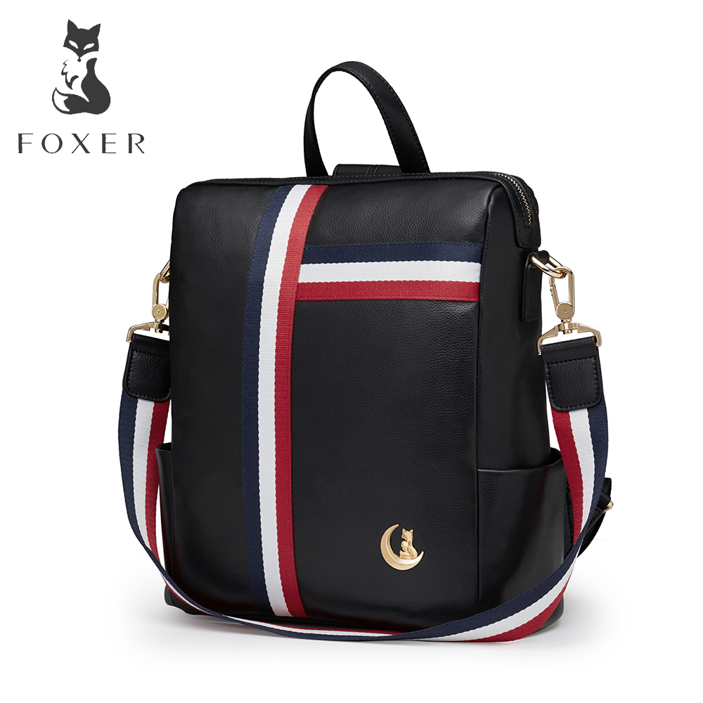 FOXER Brand New Fashion Women / Men Genuine Leather Backpack Casual School Bag Large Capacity Travel Bags For Female sendefn genuine leather backpack large capacity rivet black shoulder bag women casual backpack teenage girls school travel bags