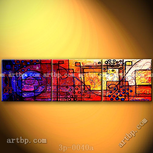 Overlapping Lives Oil Painting On Canvas Dining Room Wall Decor 3 Panel 3  Pcs /Set