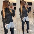 2015 fashion Women Spring Autumn Winter Turtleneck Patchwork Plus Size Shirt Casual Tops Long Sleeve shirt For Lady