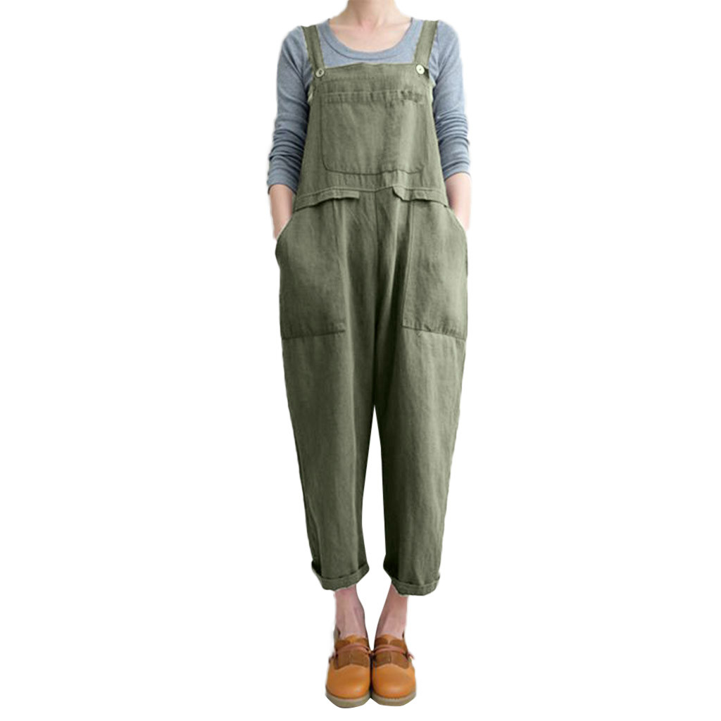 WomailWomen Sleeveless Dungarees Loose Cotton Linen Long Solid Playsuit Party   Jumpsuit   plus size sexy playsuit C300128