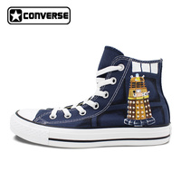 Doctor Who Dalek Tardis Custom Converse Shoes For Men Women Hand Painted Blue Sneakers