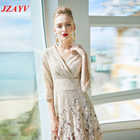 JZAYV New High Quality Explosions Leisure Vintage Color Matching Dresses Women Emboridery Spring Summer Casual Dress
