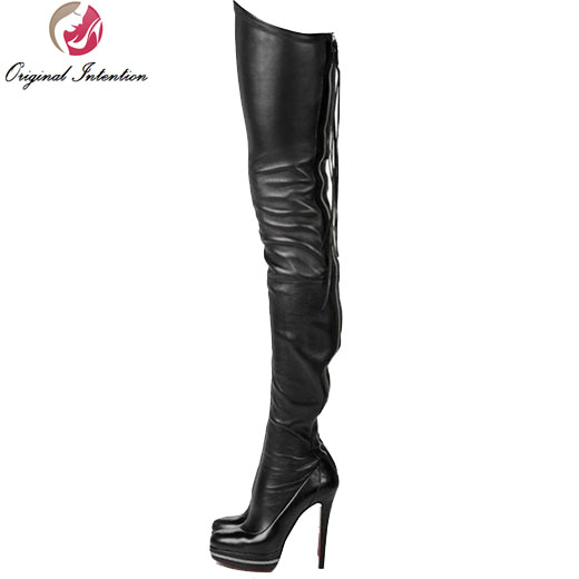 Original Intention Hot Women Over the Knee Boots Round Toe Thin Heels Boots High-quality Black Shoes Woman Plus US Size 4-15 l agent by agent provocateur боди lucila