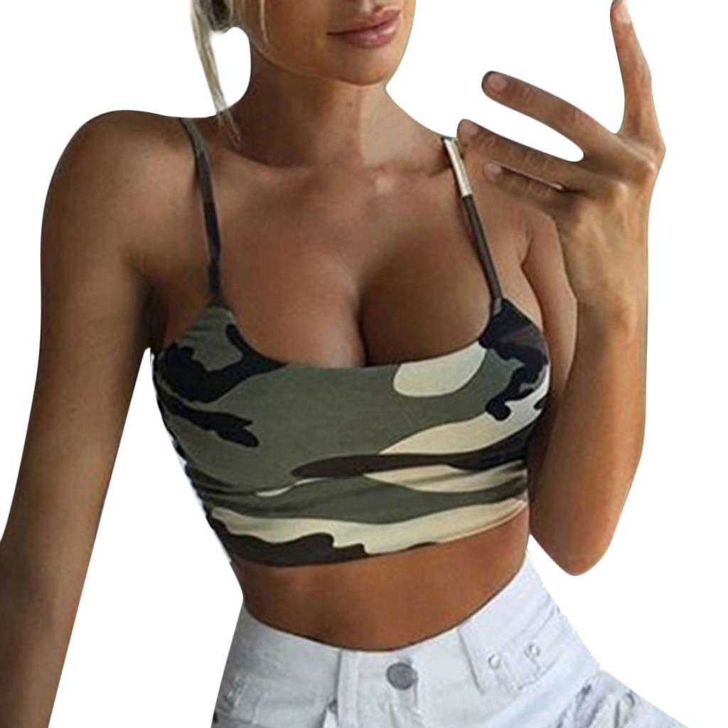 Camouflage Printed Short Camisole Sleeveless Sexy Low Cut Tank Top Bustier Bra Vest Blouse Shirt Fashion Ropa Mujer Verano#Y5