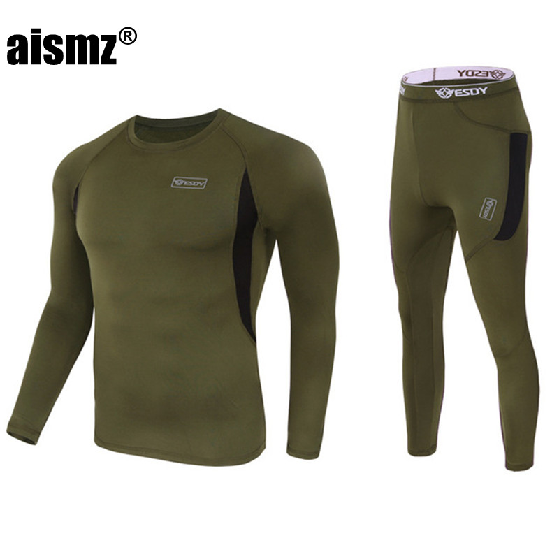 Aismz New Men Thermal Underwear Sets Compression Fleece Sweat Quick Drying Thermo Underwear Men Clothing