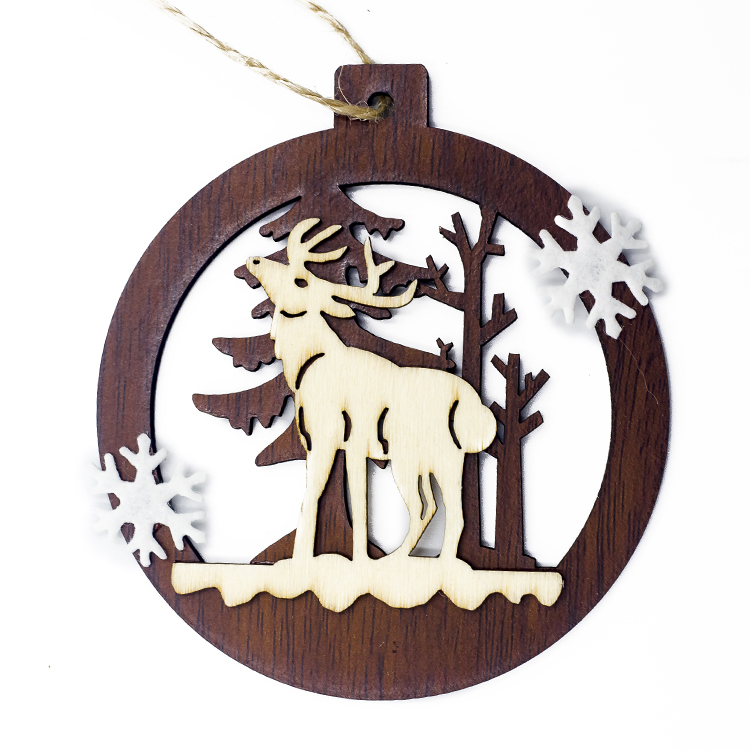 Cute Cartoon Smile Elk Wooden Ornament Christmas Tree Decoration Hanging Pendant Xmas Party Decor for Home Kids Gift Animal 2020 46