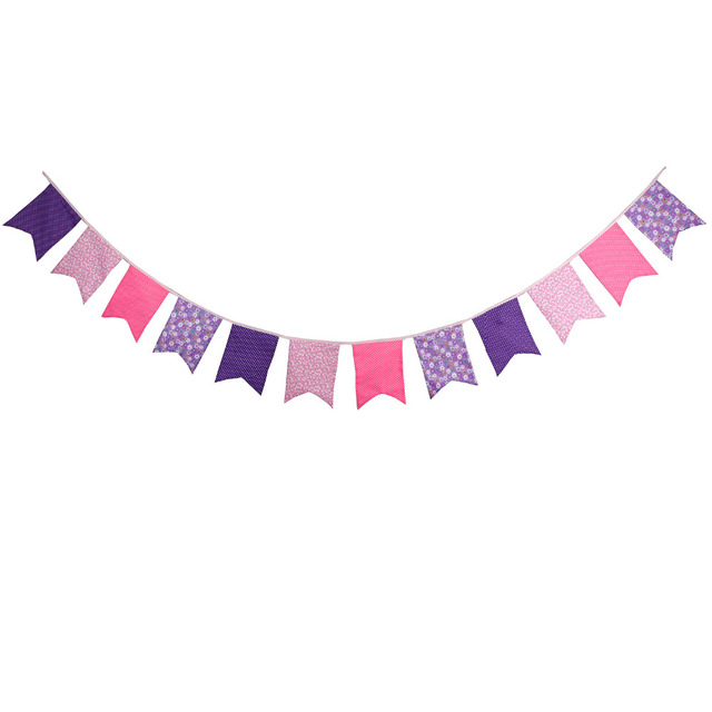 Aliexpress.com : Buy New 12 Flags Pink Purple Bunting ...