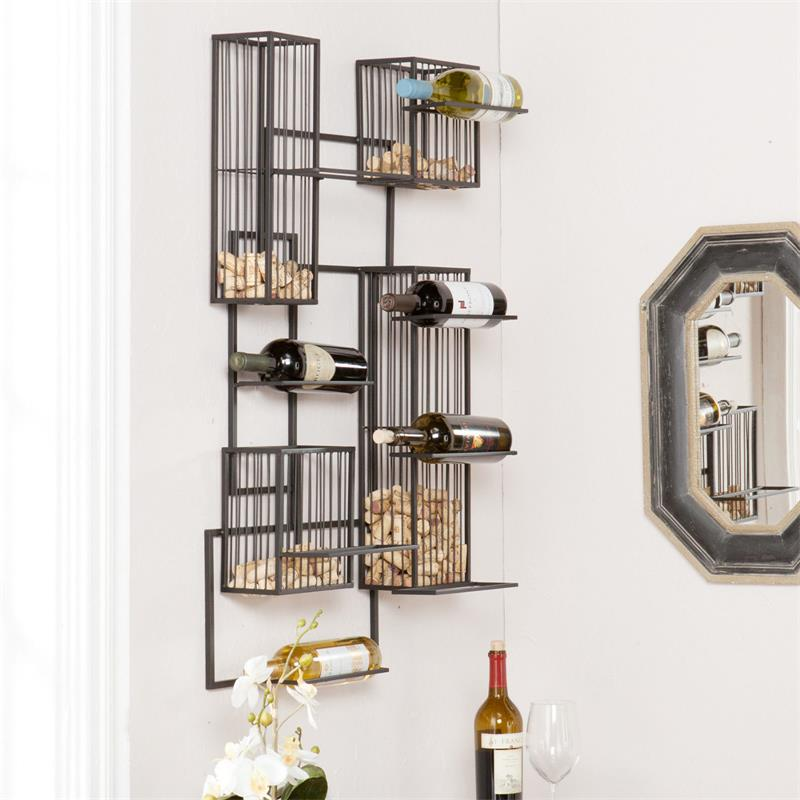 BLACK METAL 8 BOTTLES WALL MOUNT WINE RACK WITH CO...