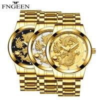 FNGEEN Brand Luxury Men Watches Black Watch Men Stainless Steel Waterproof Business Sport Wristwatch Oriental Dragon Design