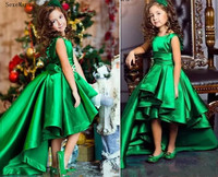 Princess Green Girls Pageant Dresses High Low Legnth Sashes Kids Flower Girls Dress Little Girls Birthday Gowns