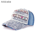Brands NUZADA Women Girls Ladies Baseball Cap Rhinestones Hip Hop Hats Caps Bone Snapback Travel Festival Skeleton Denim szm-049