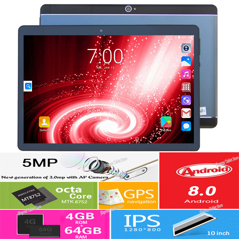 Play Store Youtube Skype 10 inch Android 8 0 MT8752 Octa Core Tablet PC 4GB RAM