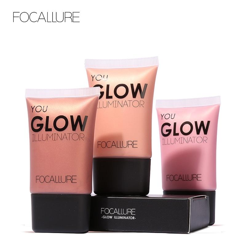 FOCALLURE Face Gold Highlighter Makeup Liquid Glow Illuminator Face Contour Brightener Glow Shimmer Liquid Highlighter Make up