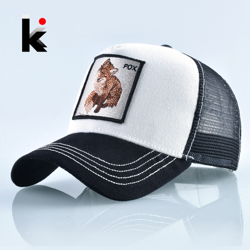 Snapback Fox Embroidery Patch   Baseball     Cap   Women Fashion Breathable Mesh Trucker Hats For Women Unisex Hip Hop Bone Casquette