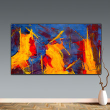 Posters and Prints Wall Art Picture Abstract Yellow Red Blue Canvas Oil Painting for Living Room Home Decor No Frame(China)