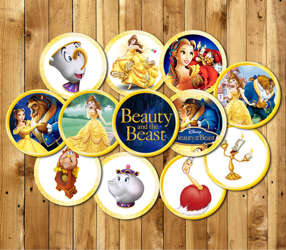 Beauty And The Beast Party Circles Sticker Birthday Party Decorations Cupcake Toppers Kids Sticker Label For Birthday Candy Tag