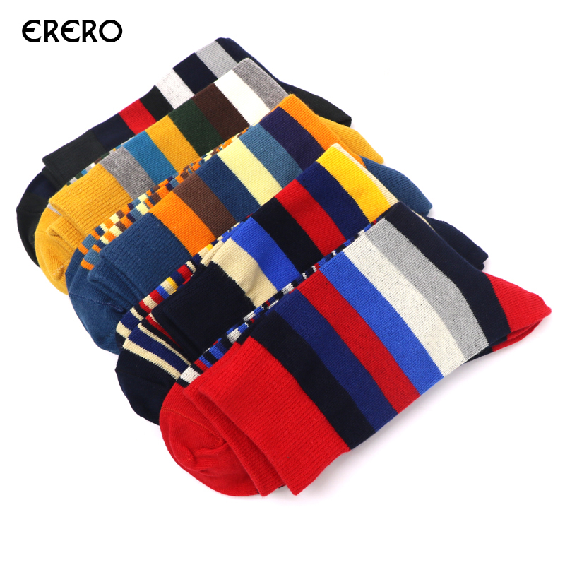 efero 5pairs Casual Mens Socks Colorful Stripe Print Couples Socks Male Fashion Brand Socks Men Dress Business Sock Calcetines