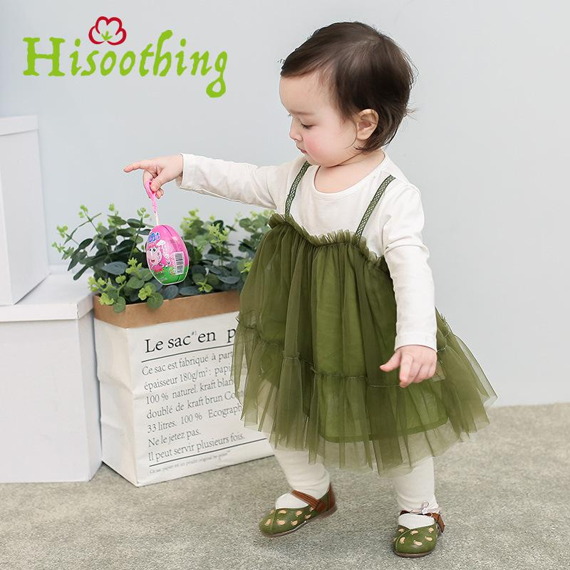 Female baby long-sleeved dress 2018 new Korean version of the two strap net mesh lace girl princess dress birthday dress casual korean version of the girls winter velvet dress children s lace dress princess dress new child dress age from 3 9t