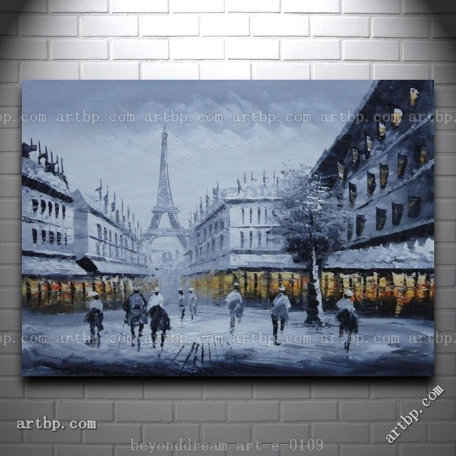 paris street to eiffel tower black and white oil painting impressionism halloween wall mural patterns decor - Halloween Wall Mural