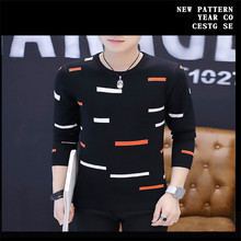 2017 Fall men casual sweater long sleeves O collar shirt warm sweater Masculino fashion stripes