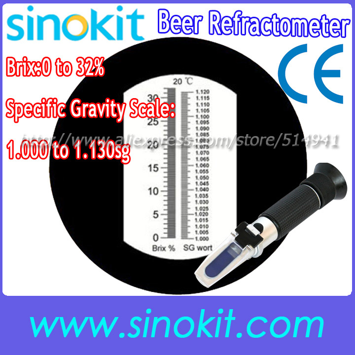 Brix 0 to 32% Brix; Specific Gravity Scale: 1.000 to 1.130sg  Beer Refractometer - RSG-100ATC