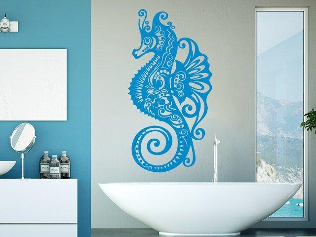 สัตว์ทะเล Sea Horse Wall Decals Vinyls สติกเกอร์ผนังห้องน้ำภายในบ้านสปารูปลอกรูปลอกเนอสเซอรี่ Room Decor YS13