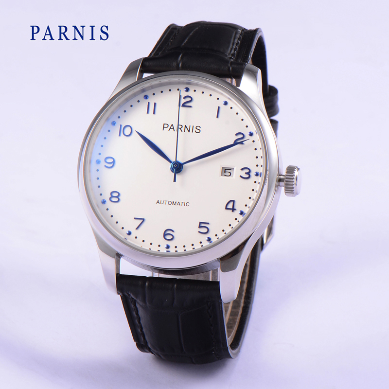 Hot Sale 43mm Parnis SeaGull Automatic Watch Men Casual Auto Men's Mechanical Watches Wristwatch White Dial Blue Numbers 3Bar  casual 43mm parnis automatic power reserve white dial blue numbers silver watch case business watch men