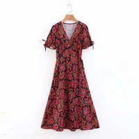 2019 Women High Quality Heavy Floral Print Casual Dress Romantic V Neck Short Sleeve Holiday Dress Sexy Bow Lace Up Dress