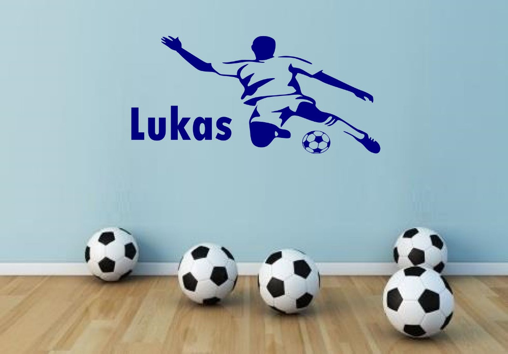 Personalised Football Men Any Name Vinyl Wall Sticker Art Decal Kids bedroom 60x30cm