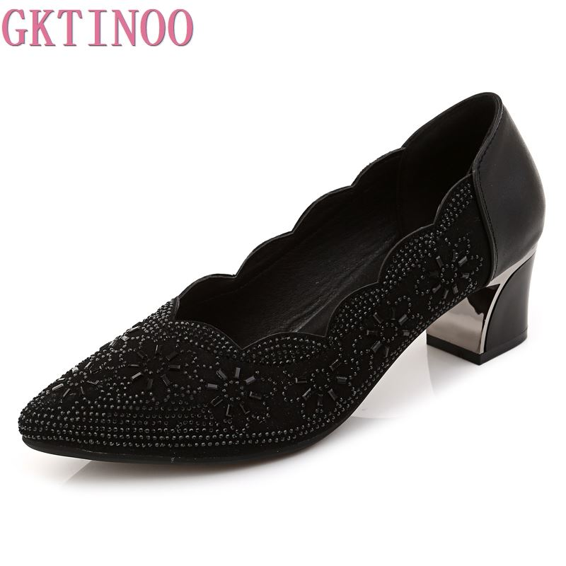GKTINOO 2019 Summer Women High Heels Rhinestone Pointed Toe Woman Shoes Genuine Leather Ladies Shoes Pumps  Zapatos Mujer