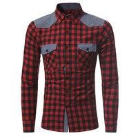 Stylish Men Dress Shirt Slim Fit Chest Double Pocket Casual Shirt Classic Plaid Shirts Tops Patchwork