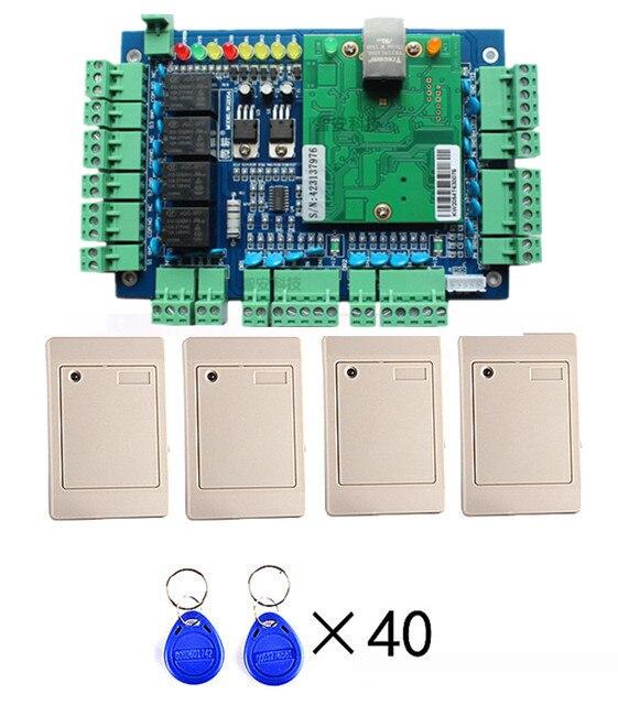 Network web Access 4 Door Access Control Board + 4X RIFD Card Reader + 40 Pcs Keyfobs For Access Control System