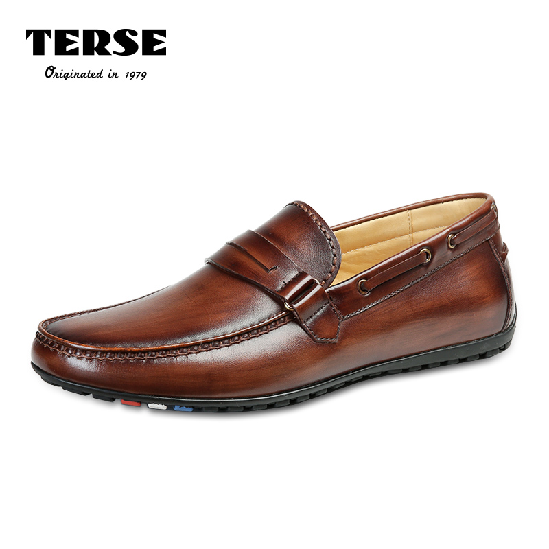 цена TERSE Handmade Genuine Leather Shoes Men Fashion Loafer Casual Shoes Burgundy Tobacco Color Custom Logo Luxury Footwear 509-2 онлайн в 2017 году