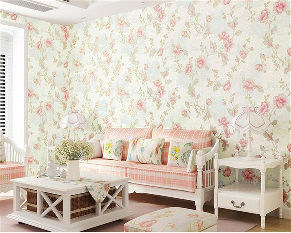 цены на beibehang Korean nonwoven warm pastoral bedroom pink living room background wall paper wedding room papel de parede 3d wallpaper