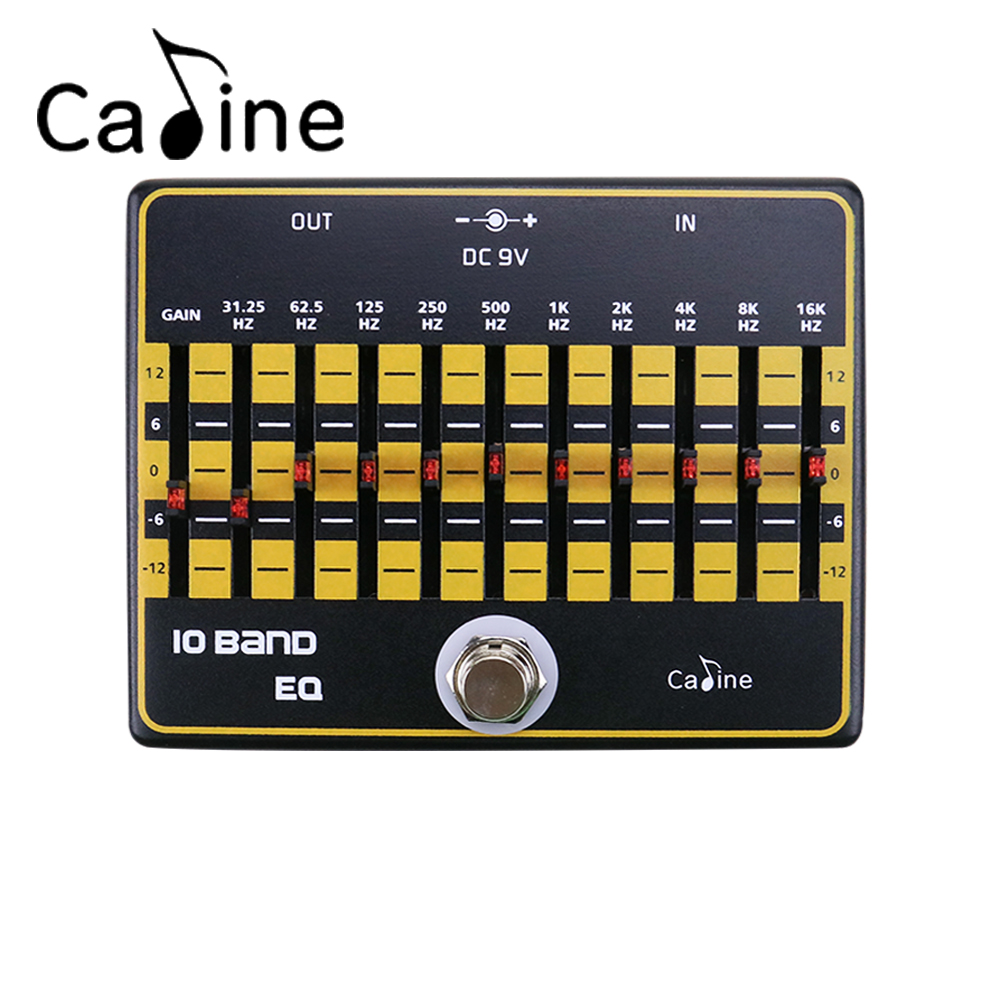 Caline CP-24 10 Band EQ Equalizer Electric Guitar Effect Pedal Aluminium Alloy True Bypass Design aroma adr 3 dumbler amp simulator guitar effect pedal mini single pedals with true bypass aluminium alloy guitar accessories