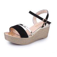 Superiore di moda Donna Sandali Comodi Cunei Sandali Delle Donne per le Scarpe Della Signora Alta Piattaforma di Legno di Compressione Suola Scarpe