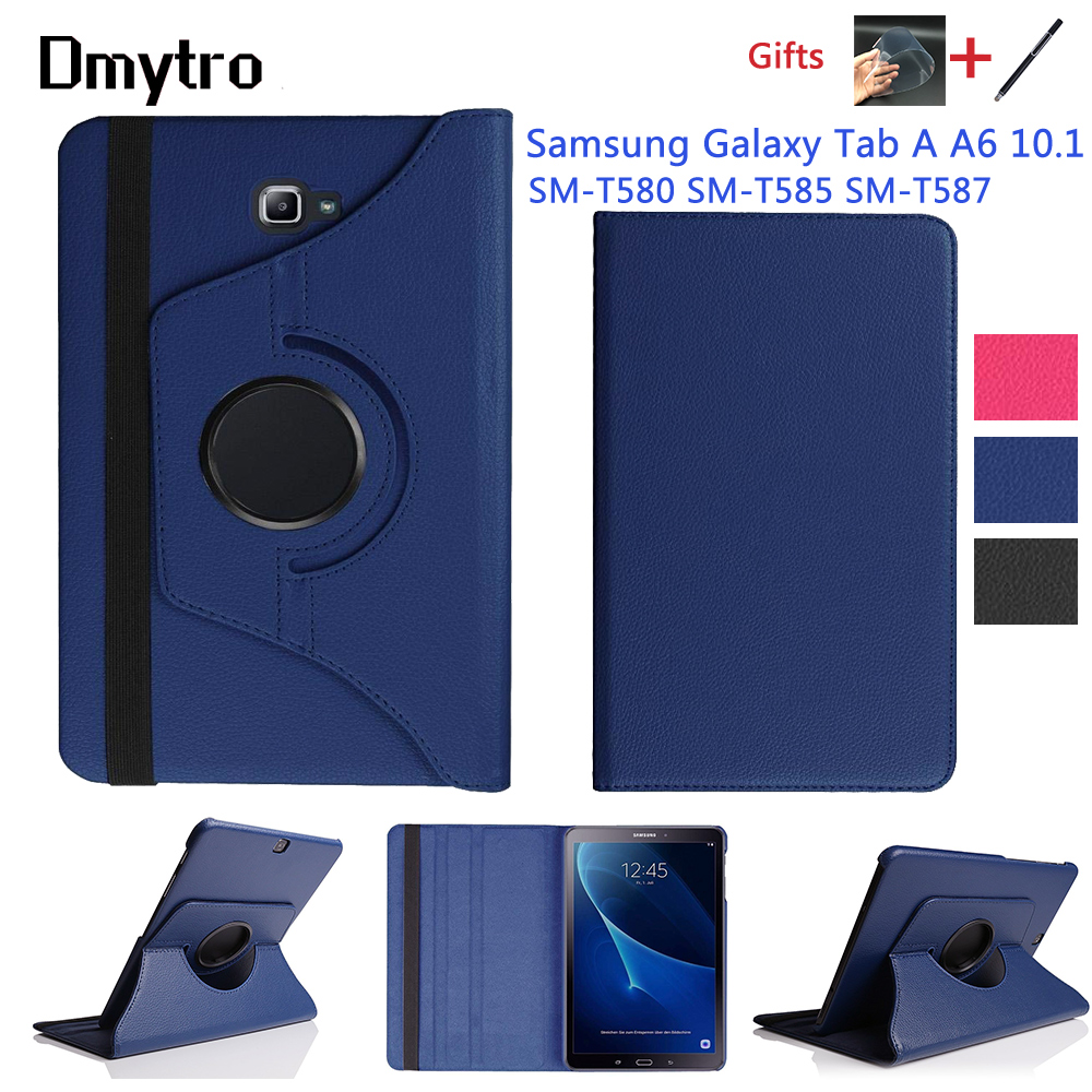 360 Rotating Case For Samsung Galaxy Tab A A6 10.1 inch T580 T585 T587 Stand Cover PU Leather Case for SM-T580 SM-T580N+Film+Pen