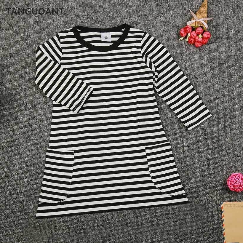 TANGUOANT New spring girls dresses stripe kids dress children casual long sleeve dress children dresses girls