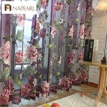 Nueva cortina clásica de la flor de la cortina de la ventana de la cortina de los productos terminados personalizar cortina de tul púrpura