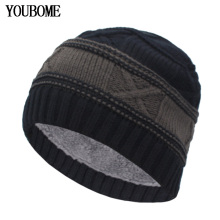 цена YOUBOME Fashion Winter Hats For Men Women Skullies Beanies Men Knitted Hat Male Caps Bonnet Warm Fur Brand Winter Beanie Hat Cap