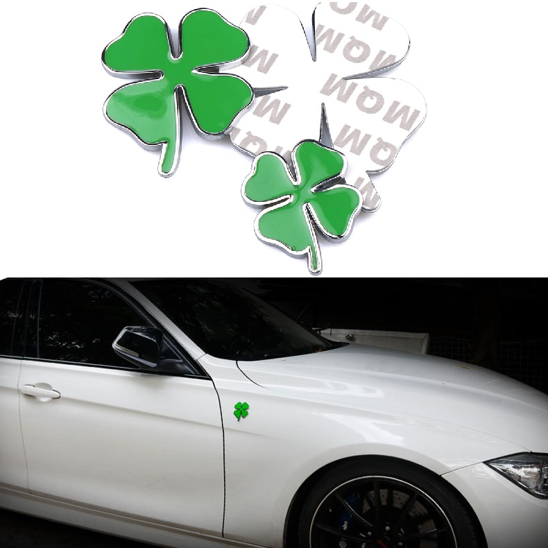 1 pièces Vert Trèfle Jour Badge POUR Alfa Romeo Trèfle À Quatre Feuilles Chromé En Métal Voiture Emblème Autocollant Amour Sain Chanceux Symbole