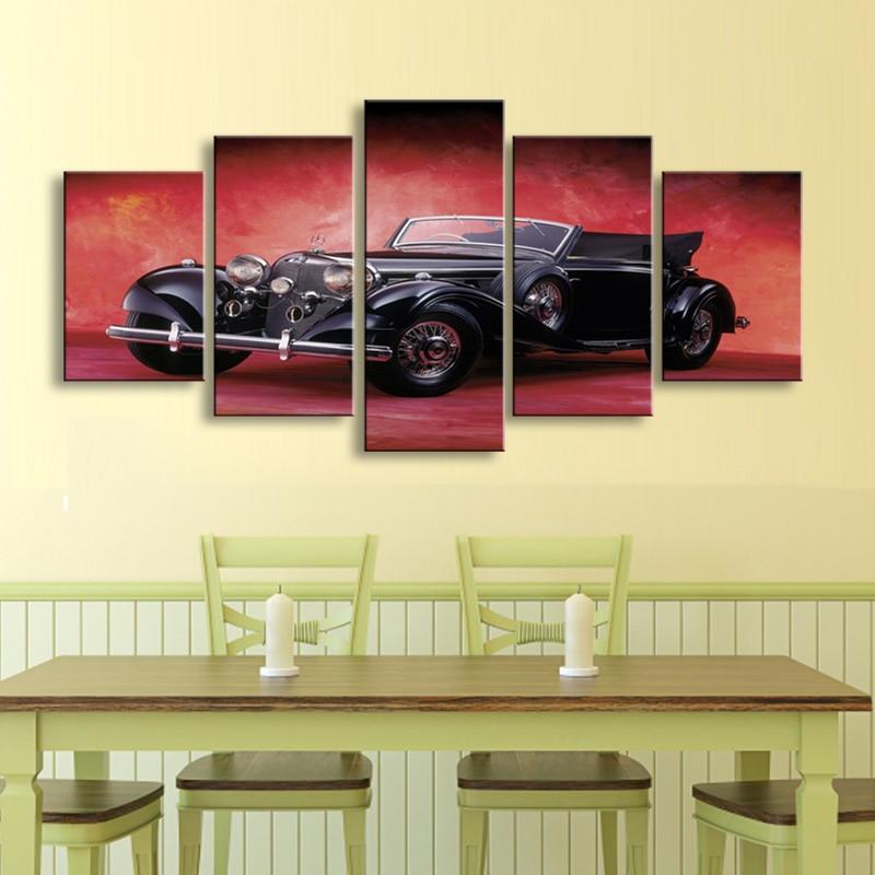 5 stücke high-definition drucken auto Mercedes leinwand ölgemälde plakat und wandkunst wohnzimmer bild C-46