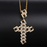 Lucky Sonny Hip Hop Bling Necklace Jewelry Female Male Bijoux Fashion Crystal Zircon Cuban Cross Pendant Necklace Christmas Gift