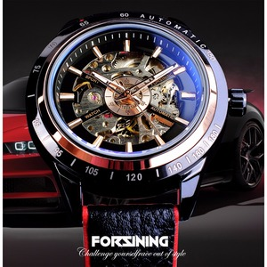 Image 2 - Forsining montre automatique pour hommes, conception de moto, ceinture noire authentique, étanche, squelette, marque de luxe, horloge mécanique