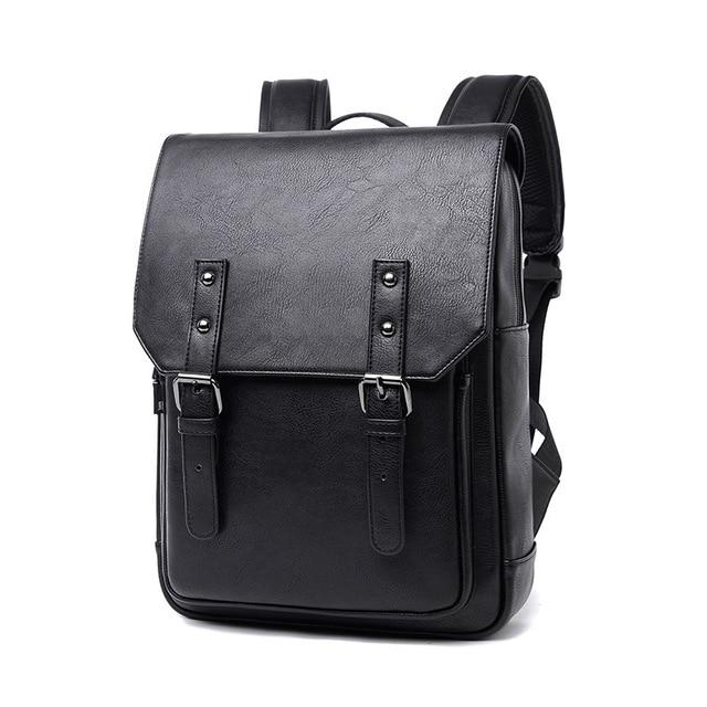 New Men Backpacks Black Leather Schoolbags For Teenagers Women